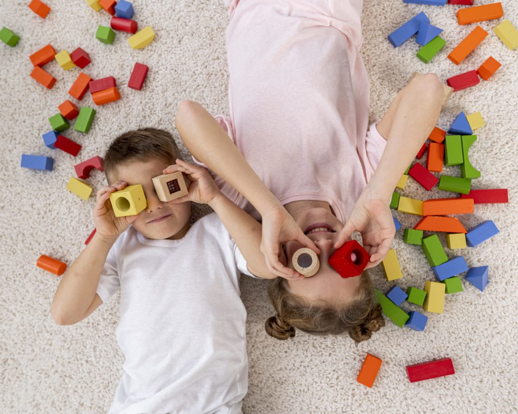 kids playing with constructions